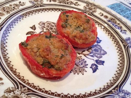 Stekte tomater med parmesanfyll.
